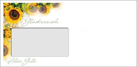 Sonnenblumenglück Kuvert mit Fenster