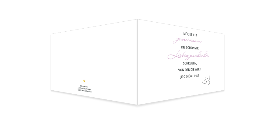 Schlichte Glückwunschkarte zur Hochzeit selbst gestaltet